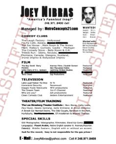 comedy resume